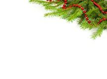 Röd girland på en julgran Royaltyfria Bilder