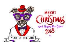 Röd glad jul och lyckligt nytt år 2018 också vektor för coreldrawillustration Jul dog som santa Arkivbild