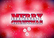 Röd glad julkort med snö och struntsaker Royaltyfri Bild