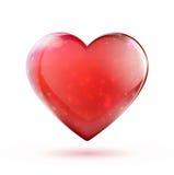 Röd glansig hjärta Arkivfoto