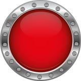 Röd glansig metallisk knapp Royaltyfria Bilder