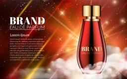Röd glasflaskadoft för romantisk kosmetisk design Bakgrund Advertizing för modern design för försäljningar Lyxigt nattutrymme Royaltyfri Foto