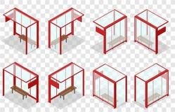 Röd glass hållplats Isometriskt stopp Arkivbilder