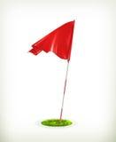 Röd golfflagga Royaltyfria Bilder