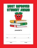 Röd gränsgräsplantext mest förbättrad studentutmärkelse royaltyfri illustrationer
