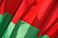 Röd-gräsplan flaggor Arkivfoto