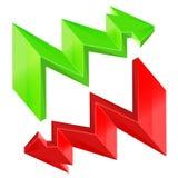 Röd grön isolerad design för sicksack pil Royaltyfria Bilder