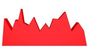 röd graf 3d på vit bakgrund Abstrakt diagram Fotografering för Bildbyråer
