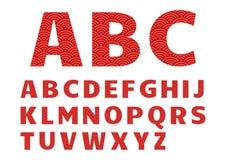Röd grafisk stilsort, alfabet med den kinesiska modellen vektor stock illustrationer