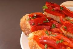 röd grillad sidosikt för peppe arkivbilder