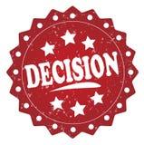 Röd grungeetikett för beslut, klistermärke royaltyfri illustrationer