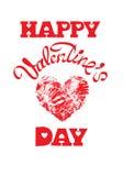 Röd grungehjärta med för valentin` s för calligraphic text lycklig dag, I Royaltyfria Bilder