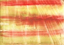 Röd gul färgrik vattenfärgtextur Fotografering för Bildbyråer