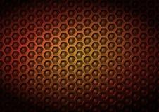 Röd gul geometrisk industriral företags vektormodellbakgrund som göras av präglade sexhörnings- och bollbeståndsdelar i 3D, verks Arkivbild