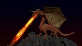 Röd guld- drake Arkivfoto