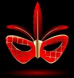 röd-guld- karnevalmaskering Royaltyfri Fotografi