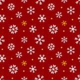 Röd, guld- och vit jul, övervintrar sömlös modellbakgrund med snöflingor och prickar Royaltyfri Bild
