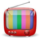 Röd gullig TV Fotografering för Bildbyråer