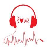 Röd hörlurar med kabel i form av kardiogrammet.  royaltyfri illustrationer