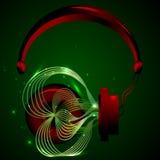Röd hörlurar med musik royaltyfri illustrationer