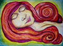 Röd hövdad kvinna vektor illustrationer