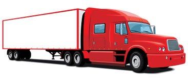 Röd halv lastbil Fotografering för Bildbyråer