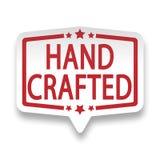 Röd hand tillverkat emblem för etikett för rengöringsdukstiftpapper på vit stock illustrationer