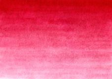 Röd handgjord målad vattenfärglutningbakgrund på texturerat papper Arkivfoton