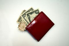 Röd handväska med pengar på en vit bakgrund royaltyfri bild