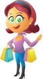 Röd head shoppingflicka Royaltyfria Bilder