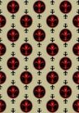 Röd heraldisk lilja på ljus - grön sömlös bakgrund Arkivbild