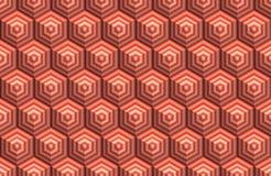 Röd hexa kub för remsa stock illustrationer