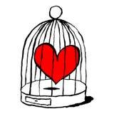 Röd hjärta är ledsen i buren för fåglar Roligt och underhållande hälsa kort för festmåltid av helgonet Valentine Day royaltyfri illustrationer