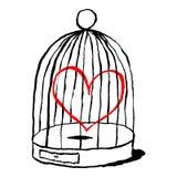 Röd hjärta är ledsen i fågelbur Roligt hälsa kort för festmåltid av helgonet Valentine Day vektor illustrationer