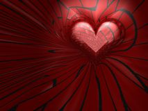 röd hjärta 3D i vägg Arkivbild