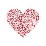 Röd hjärta av cirklarna, lyckligt valentindagkort Fotografering för Bildbyråer