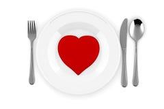 röd hjärta 3d på en platta Royaltyfri Fotografi