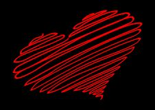 Röd hjärta Den röda tråden bildar konturn av hjärtan vektor illustrationer