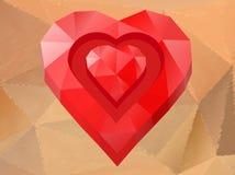 Röd hjärta för polygon Royaltyfri Bild