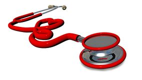 Röd hjärta för stetoskop som isoleras i vit hälsa - tolkning 3d Royaltyfri Foto