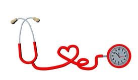 Röd hjärta för stetoskoptid som isoleras i vit hälsa - 3d framför Arkivbild