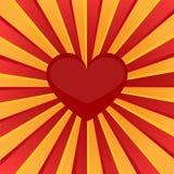 Röd hjärta för Sunburst Vektor Illustrationer
