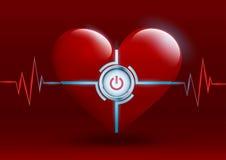 Röd hjärta för vektor med en knapp Arkivfoton