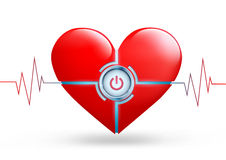 Röd hjärta för vektor med en knapp Arkivbilder