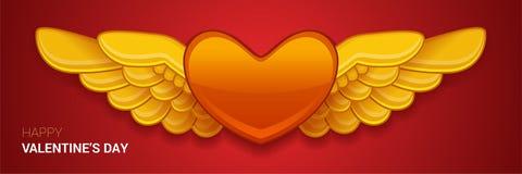 Röd hjärta för vektor med vingar Vektor Illustrationer