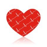 Röd hjärta för vektor på vit med ecgsymboler i den Royaltyfri Foto