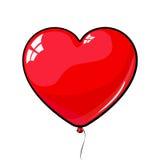 Röd hjärta formad ballong förälskelse mars 8, dag för valentin` s Royaltyfri Foto