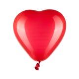 Röd hjärta formad ballong med banan Arkivfoto