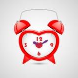 Röd hjärta formad klocka Extra formatera EPS 10 arkivfoto