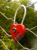 Röd hjärta formad padlok Arkivbilder